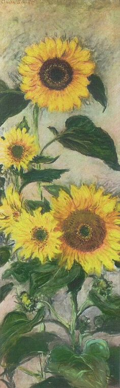 1882-85 Claude Monet Sunflowers(private collection)(128,5 x 37 cm)