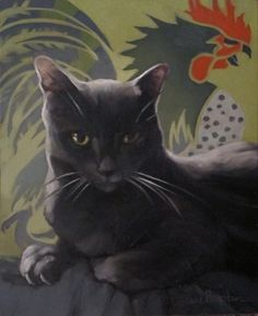 Coco Suave painting of gray cat w rooster, painting by artist Diane Hoeptner