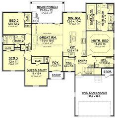 European Style House Plan - 4 Beds 2 Baths 2180 Sq/Ft Plan #430-121 Floor Plan - Main Floor Plan - Houseplans.com