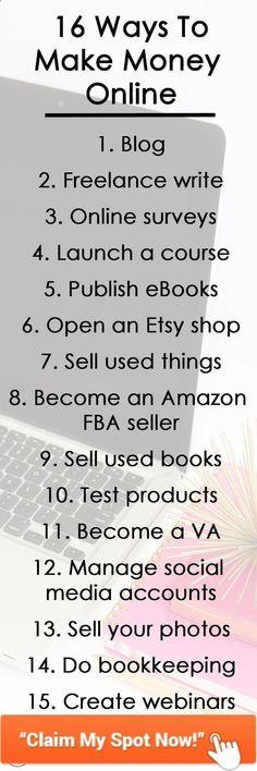 Ways to Make Money Online - Earn Money Online Earning, Earn Money Online, Make Money Blogging, Online Jobs, Earning Money, Blogging Ideas, Take Money, Way To Make Money, Money Fast