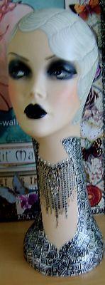 Mannequin Head Flapper 20s Vintage Trompe L'Oeil Paper Dress Up Art Deco Upage