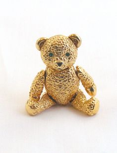 Napier Jointed Teddy Bear Pin with Crystal by RoseCottageVintage, $28.99