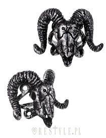 """RAM SKULL Silver"" satanic ring, arsenic, horns, animal skull, gothic ring"