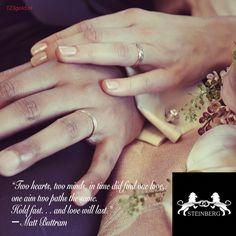 """Het is weer tijd voor inspiratie!  """"Two hearts, two minds, in time did find one love, one aim two paths the same. Hold fast. . . and love will last."""" ― Matt Buttram  Kent u een mooie, liefdevolle quote die u graag op vergelijkbare manier ziet gepresenteerd? Laat het ons weten!  #tagyourlover#lovequote#love#marriage#wedding#weddingrings #gold#diamonds#steinberg#123gold#steinbergnl#123goldnl"""