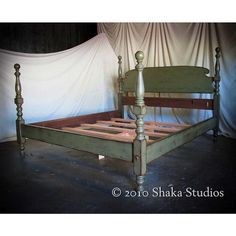 Love this - Shabby Chic Sage 48H Tall Cannonball Bed Queen - Made to Order