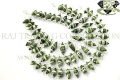 Green Zebra Jasper Faceted Dew Drops (Quality AA) Shape: Dew Drops Faceted Length: 18 cm Weight Approx: 14 to 16 Grms. Size Approx: 6x12 to 7x19 mm Price $29.00 Each Strand
