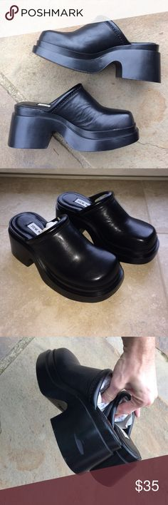"""Vintage 90s Steve Madden platform mules Awesome black leather Steve Madden vintage mule slides from the 90s. These have never been worn and still have the original tissue packing inside of them. A couple tiny scuffs on the back of the heel from storage, but other than that there's absolutely no wear. Perfect for that vintage grunge 90s lover. 3"""" heel and 1"""" platform. Sorry I don't model. I do consider fair offers, although price is kinda firm Vintage Shoes Mules & Clogs"""