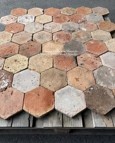 Classic COLOR LOT: French Reclaimed Hexagon Terra Cotta Tile - Historic Decorative Materials, a division of Pavé Tile, Wood & Stone, Inc. Cleaning Tile Floors, Brown Kitchens, Hexagon Tiles, Honeycomb Tile, Kitchen Flooring, Kitchen Tile, Foyer Flooring, Brick Flooring, Flooring Ideas