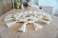Tea light holder for decorating a Christmas table. Macrame home decor for boho and eclectic spaces. Made from cotton robe. Handmade with love and attention to details. Ready to ship!   More macrame candle holders here https://www.etsy.com/listing/490773557/ and here https://www.etsy.com/listing/492097663/    COLOUR The tea light holder is ecru.  SIZE You can choose a custom size if the one from this listing is not exactly what youre looking for. If you do so - contact me and we will discuss…