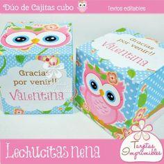 Dúo de cajitas cubo Lechucitas para regalar en el día del amigo - Tarjetas Imprimibles Paper Box Template, Greeting Card Box, Cata, Drink Sleeves, Baby Shower, Templates, Ideas, Owls, Printable Cards