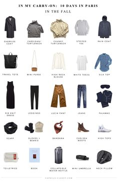 Packing list: Paris in the fall - Capsule Closet Fall Packing List, Paris Packing, Packing Lists, Weekend Packing, Camping Packing, Vacation Packing, Paris Travel, Paris In Autumn, Europe Travel Outfits