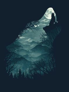 Wolf silhouette howling at moon wallpapers