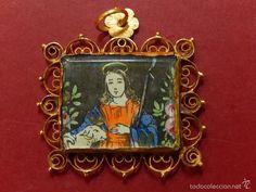 Antigüedades: Bajo de rosario mallorquín. Siglo XIX o anterior. Oro y grabado coloreado. Mallorca. - Foto 4 - 57097337