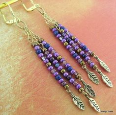 Copper and Purple Dangle Boho Earrings Copper Beads by MangoTease