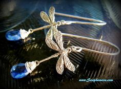 'Sterling Silver Dragonfly & Kyanite Earrings' is going up for auction at  3pm Mon, Jun 25 with a starting bid of $20.