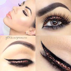 Day 8 @anastasiaabh dip brow in ebony @tarte cosmetics tArteist new eyeliner @maccosmetics glitter @smashbox full exposure palette for crease #makeup #makeup tutorials #eyeshadow looks #eyeliner #graphic #glitter