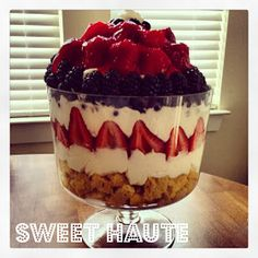 Fresh Berry Trifle Dessert Recipe #patriotic party food #ideas red, white and blue rwb dome shaped tutorial- SWEET HAUTE pin now...make later! #july #patriotic