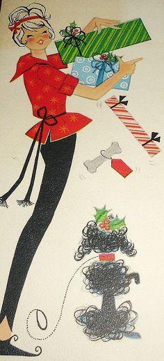 Vintage Christmas Card w/ Poodle! Vintage Christmas Images, Retro Christmas, Vintage Holiday, Christmas Girls, Christmas Photos, Vintage Greeting Cards, Christmas Greeting Cards, Christmas Greetings, Old Time Christmas