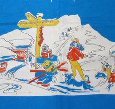 Vintage Ski Scarf Cartoon Novelty 0 1953 German by VintagePDX