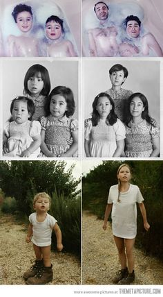 Recreating childhood photos - this would be a perfect gift for mum and dad!