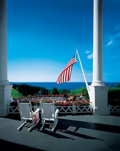 View from the porch of The Grand Hotel, Mackinac Island, Michigan.