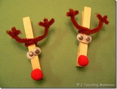 Reindeer clothespin craft - clothespin, pipe cleaners, wiggly eyes, pom poms