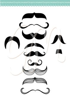 Mustache, Spectacles and Lips Kiss Digital Clipart Set. DIY Photo Booth Printables and individual clip art elemnts. Best Wedding Party Props