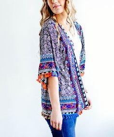 Look at this #zulilyfind! Navy Mixed Print Tassel Kimono #zulilyfinds