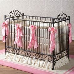 Slate is the new black...very dark grey on this iron crib by Bratt Decor is great for a girl or boy.
