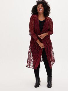 Chiffon Kimono, Lace Kimono, Kimono Cardigan, Lace Weave, Plus Size Kimono, Vintage Wardrobe, Classic Outfits, Red Lace, Plus Size Women