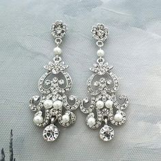 bridal Chandelier Earrings pearl and crystal earrings #wedding #jewelry