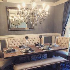 Chic dining room @zgallerie #blue #grey #chandelier #diamonds