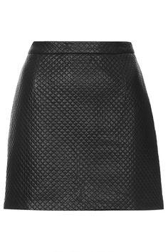 TOPSHOP PU Stitch A-line Skirt