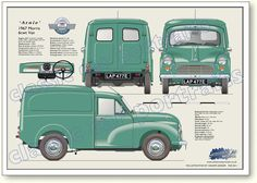 """Morris 6 cwt Van - Morris never called the Minor based van and pick-up """"Minor"""", they were originally """"Quarter Ton"""" and later cwt"""" or 8 """"cwt"""". Classic Cars British, Classic Sports Cars, Classic Mini, Morris Minor, Blueprint Drawing, Austin Cars, Microcar, Vintage Vans, Auto Vintage"""