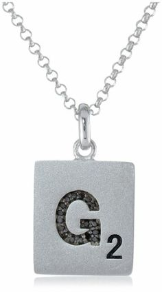 Scrabble 925 Sterling Silver 0.051ct Diamond Initial G Pendant Necklace, 18""