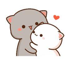 Cute Anime Cat, Cute Bunny Cartoon, Cute Kawaii Animals, Cute Cartoon Pictures, Cute Love Cartoons, Cute Cat Gif, Kawaii Cat, Kawaii Anime, Cute Bear Drawings