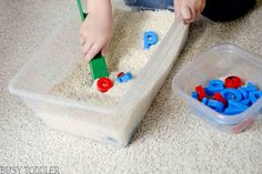 Build an easy three-in-one toddler activity with this magnetic alphabet sensory bin. Toddlers will love the sensory, literacy, and science in this activity.