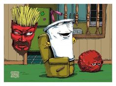 Aqua Teen Hunger Force (adultswim show). Cartoon Images, Cartoon Art, Cartoon Characters, Fictional Characters, Adult Cartoons, Cool Cartoons, Harvey Birdman, Aqua Teen Hunger Force, Teen Art
