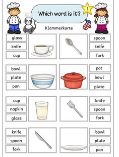 "Zusatzmaterial zum Paket ""In the kitchen"" Zu JacMos tollem Materialpaket ""In the kitchen"" habe ich nun noch einige Klammerkarten und ein. English Phonics, English Games, Kids English, English Lessons, English Vocabulary, Teaching English, Learn English, English Worksheets For Kids, English Activities"