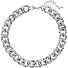 TOPSHOP Silver Curb Chain Choker ($6.85) ❤ liked on Polyvore featuring jewelry, necklaces, accessories, topshop, colares, silver, silver jewellery, silver necklace, silver jewelry and choker jewelry