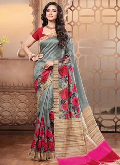Latest Beautiful Designer Grey Colored Traditional Casual Wear Sari 22636 Pure Silk Printed Daily Wear Saree With Floral Print