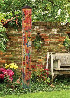 Welcome Birdhouse Art Pole, Decorative Bird House Pole, Art Pole Gardens Collection at Songbird Garden