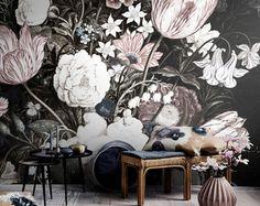 Blossoms Mural Large Wall Mural Large Flowers Mural Dark Floral