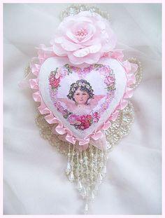 Shabby Rose Vintage Cherub Heart Ornament by Crystal's Rose Cottage Chic Shabby Chic Ornaments, Shabby Chic Christmas, Rose Cottage, Cottage Chic, Fabric Hearts, I Love Heart, Crystal Rose, Heart Ornament, Beaded Trim
