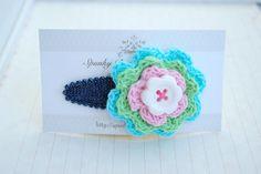 Blue Crochet Flower Hair Clip Colorful Hair Clip by SpunkyBunny, $5.00