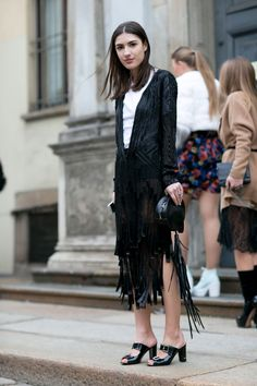 Must-See Street Style From Milan Fashion Week Fall 2015 - black sequin cardigan over a white tshirt + leather fringe midi skirt and patent leather sandals