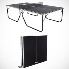 """The Super Thin Folding Ping Pong Table lets you enjoy table tennis action whenever you want. When you're not playing, it folds easily and rolls away for storage! Convenient, portable table tennis. No assembly required. For indoor use only. Can be set up and collapsed by one adult. Sturdy metal locking legs. Hidden wheels built into the frame. Thin black top (only 5/8"""") with white markings. Metal apron andMetal legs. Includes net and posts. Weight: 143.5 Lbs. Please allow 2-4 weeks for ..."""