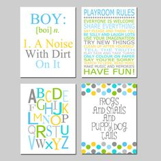Baby Boy Nursery Art - Nursery Quote Prints - Kids Wall Art Baby Boys Room - ABC - Baby Nursery Decor Playroom Rules Quote - Set Four 11x14 on Etsy, $75.00