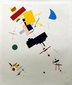 Artwork by Kazimir Malevich, Suprematism n.56, Made of lithograph printed in colours
