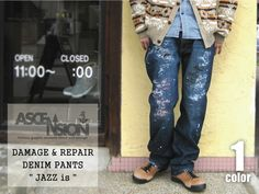 "DAMAGE & REPAIR DENIM PANTS ""JAZZ is"" LIMITED EDITION"